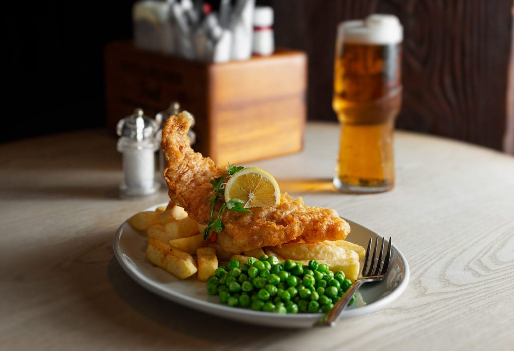 Pub food in Cardiff - Fish and chips at Merricks Bar Cottrell Park